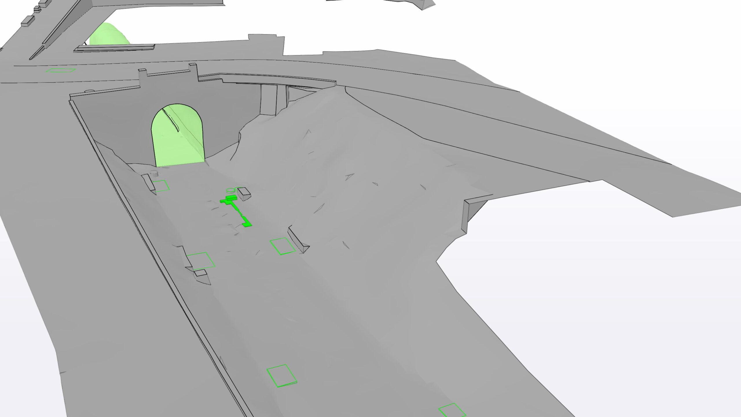 Mit 3D-Laserscanning erfasste Grundlagenmodelle des Portalbereiches, des bestehenden Arosertunnels, sämtlichen Schächten und der Bahntechnik
