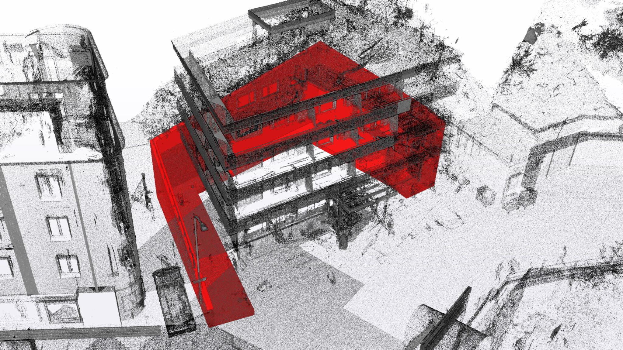 Modellierte Stützmauer ab Bauplänen und 3D-Laserscanningaufnahmen