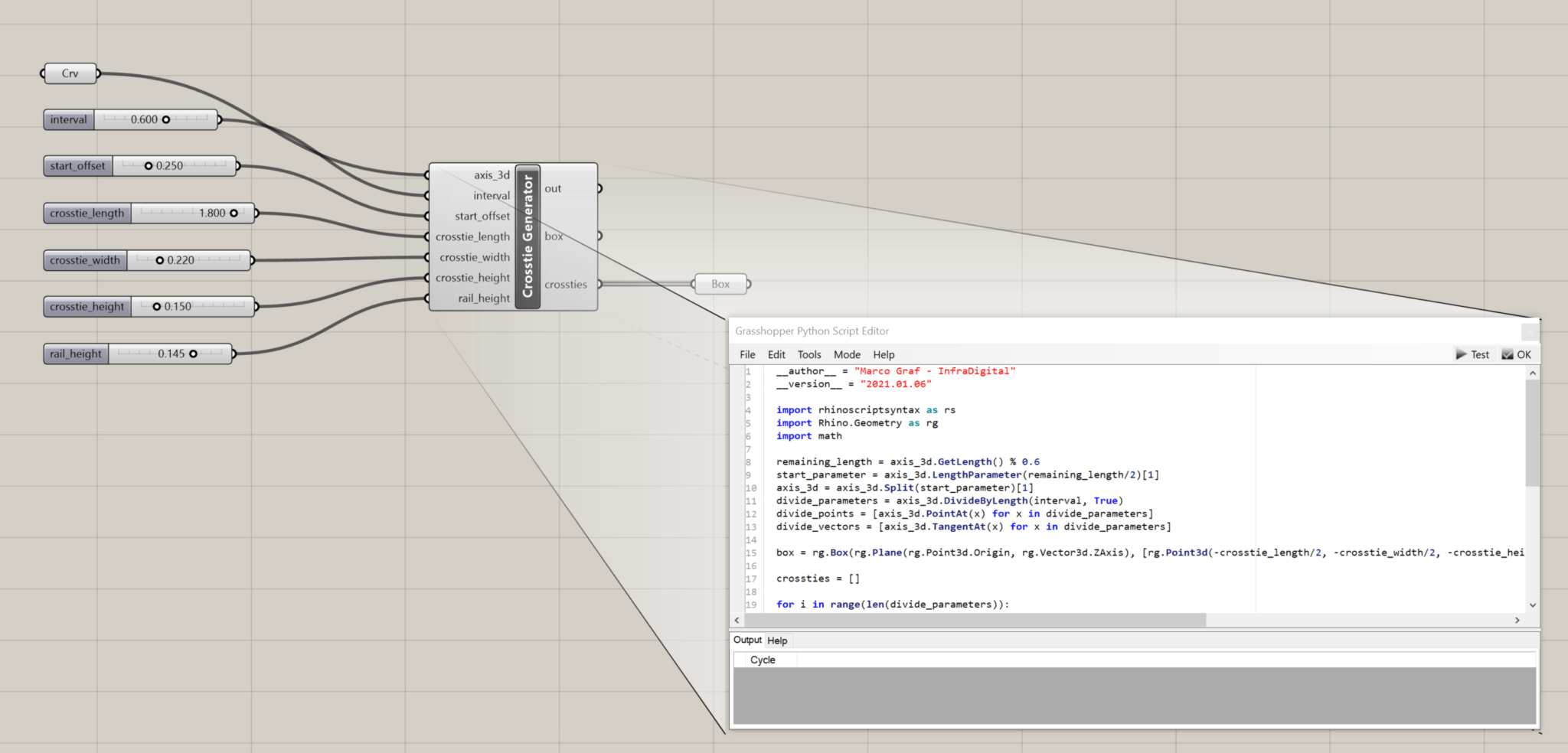 Python-Script in Grasshopper-Umgebung